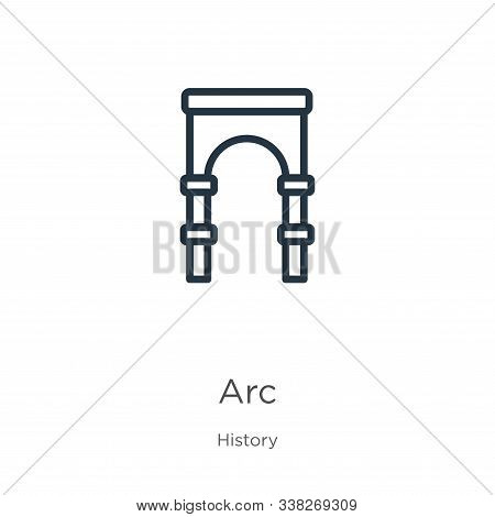 Arc Icon. Thin Linear Arc Outline Icon Isolated On White Background From History Collection. Line Ve
