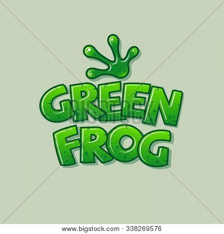 Green Frog Logo. Glossy Letters And Green Frog Paw. The Frog Icon. Logo For The Tropical World Or Zo