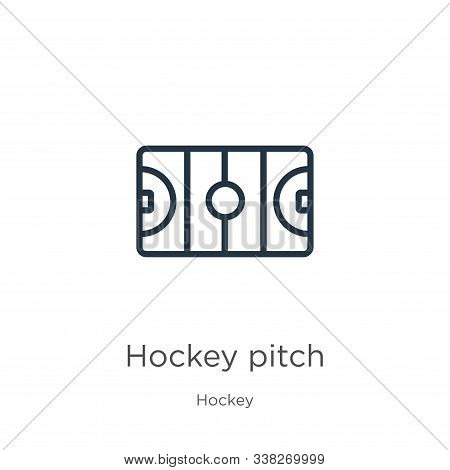 Hockey Pitch Icon. Thin Linear Hockey Pitch Outline Icon Isolated On White Background From Hockey Co