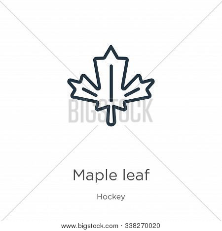 Maple Leaf Icon. Thin Linear Maple Leaf Outline Icon Isolated On White Background From Hockey Collec