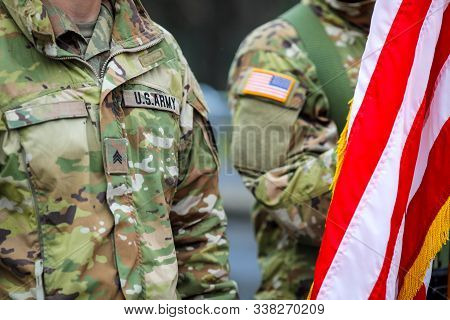 Us Army Soldiers Take Part At The Romanian National Day Military Parade.
