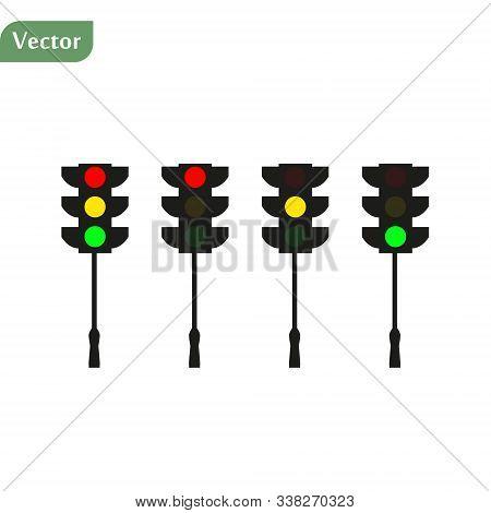 Set Of Traffic Lights. Flat Signal Icons. Semaphore Design. Vector Illustration Isolated On White Ba