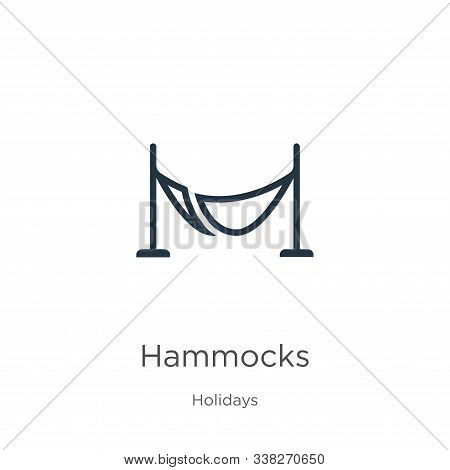 Hammocks Icon. Thin Linear Hammocks Outline Icon Isolated On White Background From Holidays Collecti