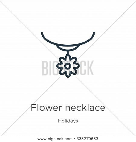 Flower Necklace Icon. Thin Linear Flower Necklace Outline Icon Isolated On White Background From Hol