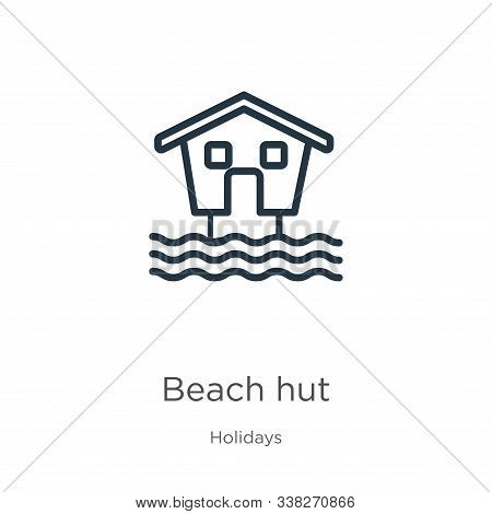 Beach Hut Icon. Thin Linear Beach Hut Outline Icon Isolated On White Background From Holidays Collec