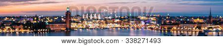 Stockholm, Sweden. Night Skyline Abstract Boke Bokeh Background With Famous Landmarks. Design Backdr