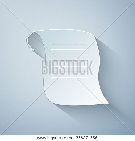 Paper Cut Paper Scroll Icon Isolated On Grey Background. Canvas Scroll Sign. Paper Art Style. Vector