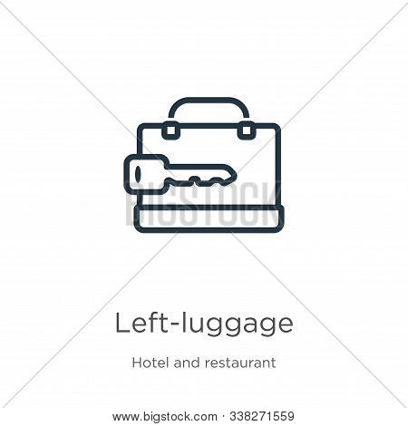 Left-luggage Icon. Thin Linear Left-luggage Outline Icon Isolated On White Background From Hotel And