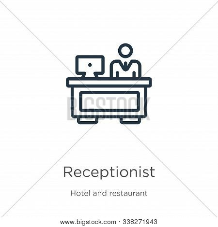 Receptionist Icon. Thin Linear Receptionist Outline Icon Isolated On White Background From Hotel And