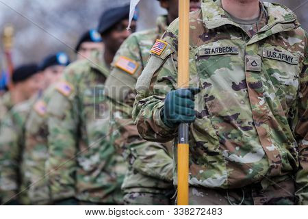 Bucharest, Romania - December 01, 2019: Us Army Soldiers Of The 1st Cavalry Division Take Part At Th