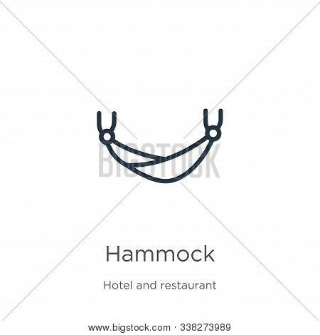 Hammock Icon. Thin Linear Hammock Outline Icon Isolated On White Background From Hotel Collection. L