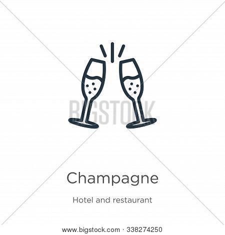 Champagne Icon. Thin Linear Champagne Outline Icon Isolated On White Background From Hotel Collectio