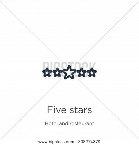 Five stars icon. Thin linear five stars outline icon isolated on white background from accommodation collection. Line vector five stars sign, symbol for web and mobile poster