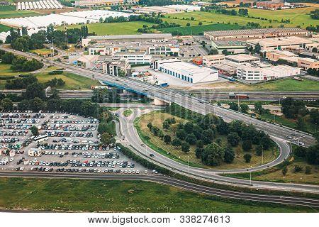 Bergamo, Italy - July 01, 2015: Aerial View Of Parking And Highway Near Orio Al Serio International