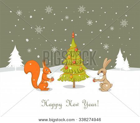 Christmas Card With Handwritten Text Happy New Year, Rabbit And Squirrel Decorating Fir Tree With Ch