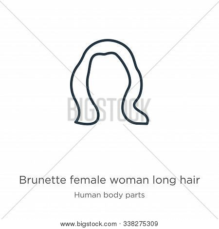 Brunette Female Woman Long Hair Icon. Thin Linear Brunette Female Woman Long Hair Outline Icon Isola