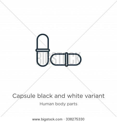 Capsule Black And White Variant Icon. Thin Linear Capsule Black And White Variant Outline Icon Isola