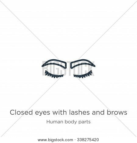 Closed Eyes With Lashes And Brows Icon. Thin Linear Closed Eyes With Lashes And Brows Outline Icon I