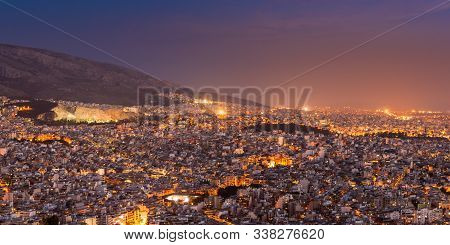 View Over The Athens At Night From Lycabettus Hill, Greece.