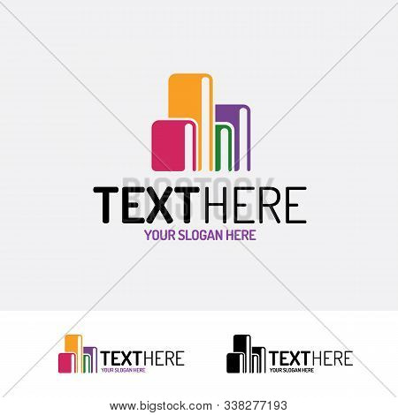 Book Vector Logo Modern Color Style Consisting Of Books Different Color Isolated On Background For B