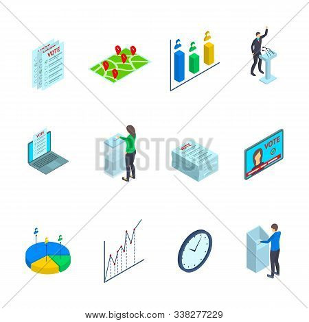 People Election Sign 3d Icon Set Isometric View Include Of Voter And Candidate. Vector Illustration