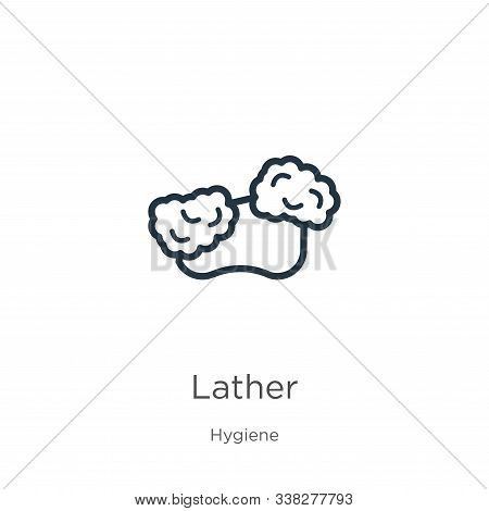 Lather Icon. Thin Linear Lather Outline Icon Isolated On White Background From Hygiene Collection. L