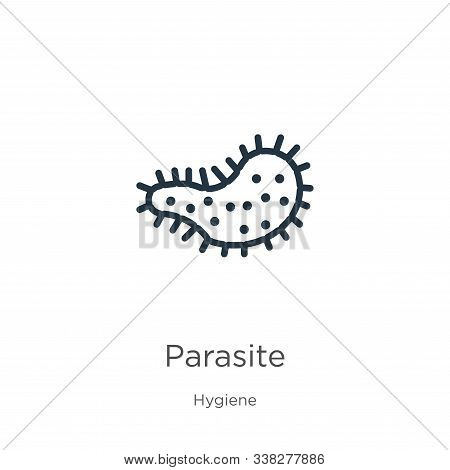 Parasite Icon. Thin Linear Parasite Outline Icon Isolated On White Background From Hygiene Collectio