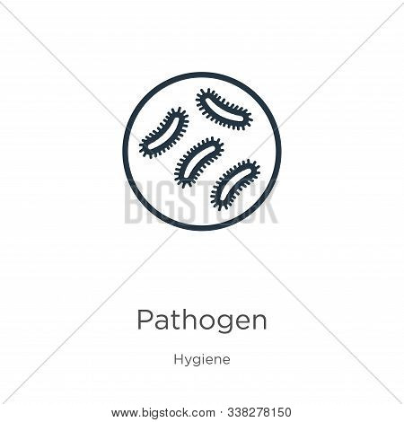 Pathogen Icon. Thin Linear Pathogen Outline Icon Isolated On White Background From Hygiene Collectio