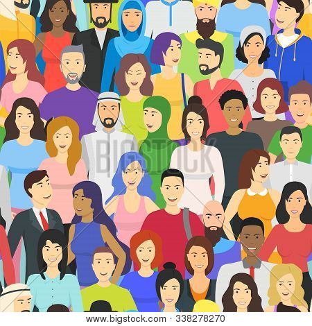 Cartoon Color Characters People Different Nationalities Crowd Or Diverse Social Company Concept Flat