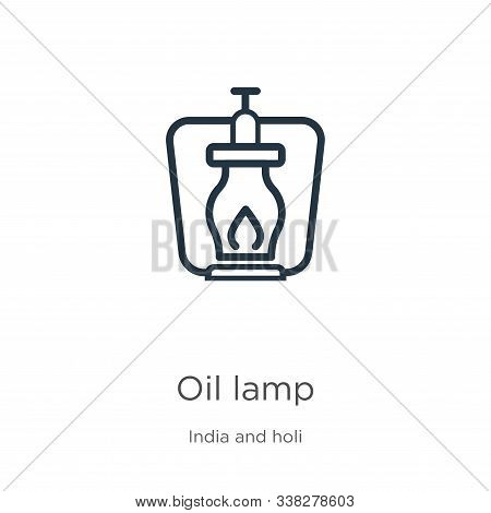 Oil Lamp Icon. Thin Linear Oil Lamp Outline Icon Isolated On White Background From India And Holi Co