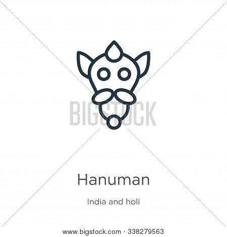 Hanuman Icon. Thin Linear Hanuman Outline Icon Isolated On White Background From India Collection. L