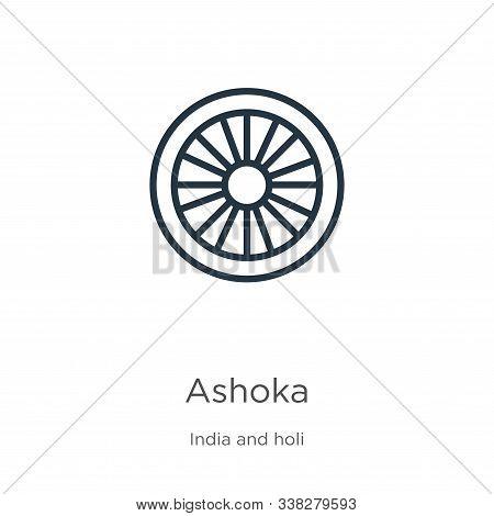 Ashoka Icon. Thin Linear Ashoka Outline Icon Isolated On White Background From India Collection. Lin