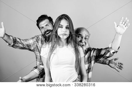 Internal Demons. Conscience And Repentance. Two Bearded Men Scare And Chase Young Woman. Family Valu