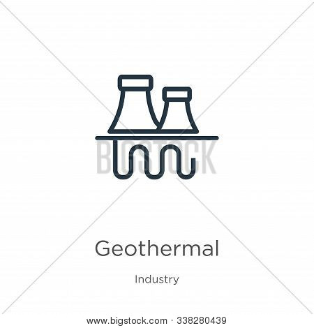 Geothermal Icon. Thin Linear Geothermal Outline Icon Isolated On White Background From Industry Coll