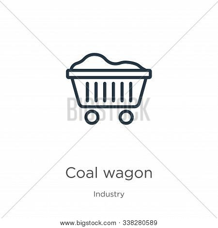 Coal Wagon Icon. Thin Linear Coal Wagon Outline Icon Isolated On White Background From Industry Coll