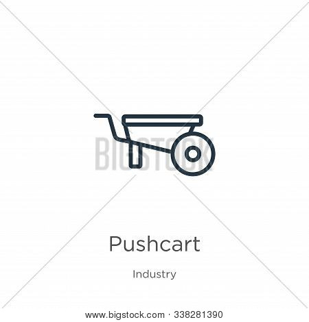 Pushcart Icon. Thin Linear Pushcart Outline Icon Isolated On White Background From Industry Collecti