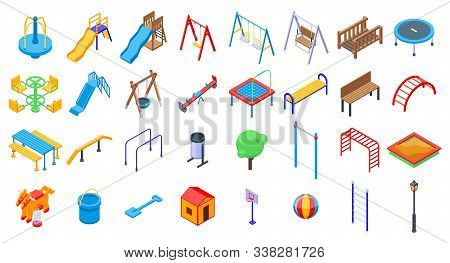 Kid Playground Icons Set. Isometric Set Of Kid Playground Vector Icons For Web Design Isolated On Wh