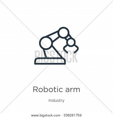 Robotic Arm Icon. Thin Linear Robotic Arm Outline Icon Isolated On White Background From Industry Co