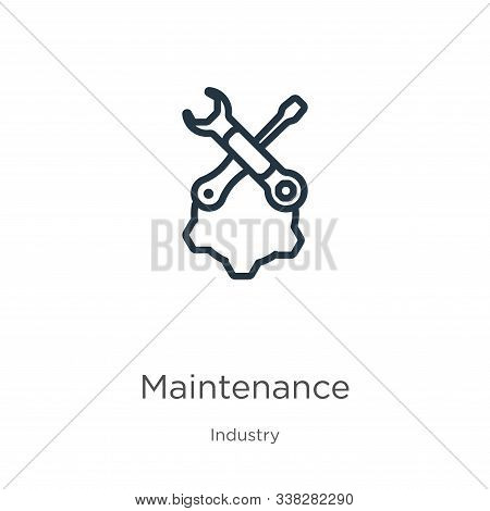Maintenance Icon. Thin Linear Maintenance Outline Icon Isolated On White Background From Industry Co