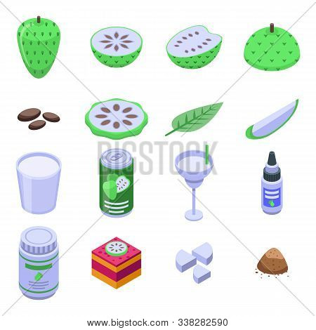 Soursop Icons Set. Isometric Set Of Soursop Vector Icons For Web Design Isolated On White Background