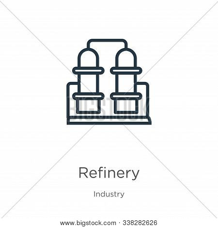 Refinery Icon. Thin Linear Refinery Outline Icon Isolated On White Background From Industry Collecti