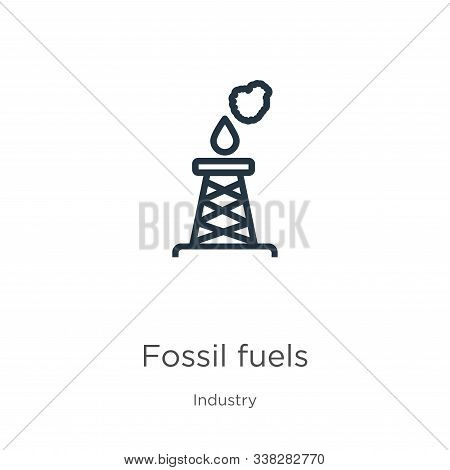 Fossil Fuels Icon. Thin Linear Fossil Fuels Outline Icon Isolated On White Background From Industry