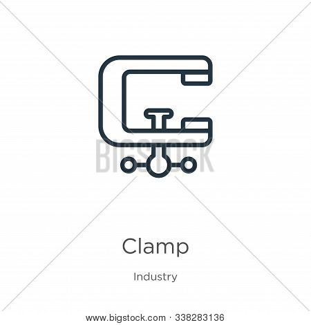 Clamp Icon. Thin Linear Clamp Outline Icon Isolated On White Background From Industry Collection. Li