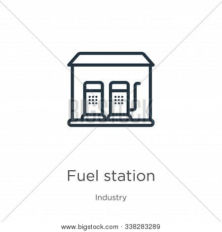 Fuel Station Icon. Thin Linear Fuel Station Outline Icon Isolated On White Background From Industry