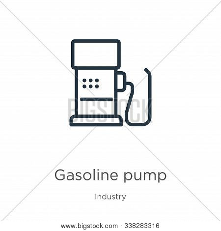 Gasoline Pump Icon. Thin Linear Gasoline Pump Outline Icon Isolated On White Background From Industr