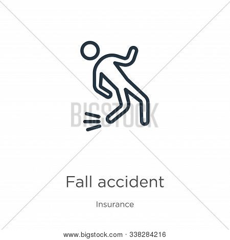 Fall Accident Icon. Thin Linear Fall Accident Outline Icon Isolated On White Background From Insuran