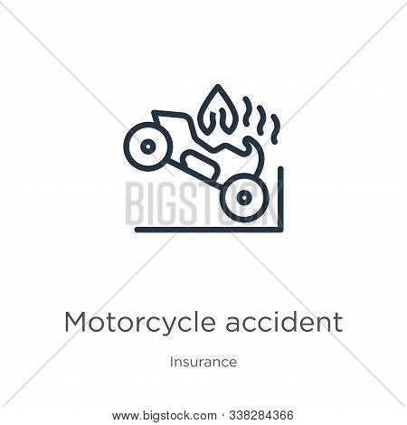 Motorcycle Accident Icon. Thin Linear Motorcycle Accident Outline Icon Isolated On White Background