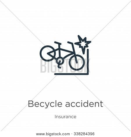Becycle Accident Icon. Thin Linear Becycle Accident Outline Icon Isolated On White Background From I