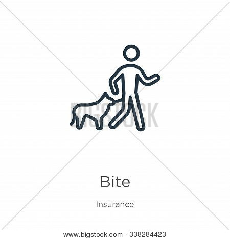 Bite Icon. Thin Linear Bite Outline Icon Isolated On White Background From Insurance Collection. Lin