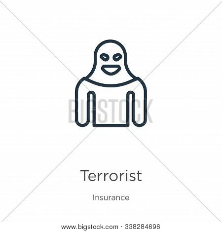 Terrorist Icon. Thin Linear Terrorist Outline Icon Isolated On White Background From Insurance Colle
